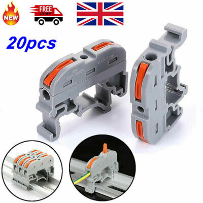 £7.99 • Buy 20pcs Din Rail Wire Connector Terminal Wiring Compact Mini Push-In Conductor
