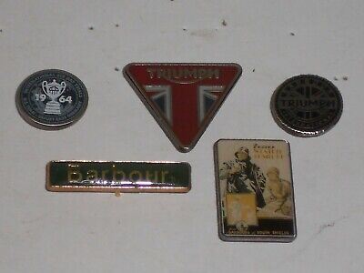 £14.99 • Buy Small Job Lot Collection 5 Barbour Clothing Inc Triumph Motorcycles Pin Badges