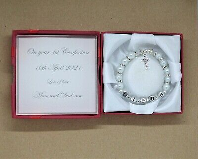£7.99 • Buy First Confession Gift, Present. Personalised Bracelet First Holy Communion.