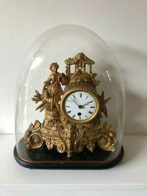 £190 • Buy French Ormolu Cased Mantel Clock By S & F Paris, On A Wooden Stand 19th Cent.