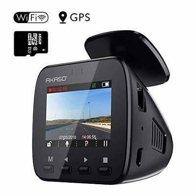 AU134.15 • Buy AKASO Wifi Dash Cam With GPS, 1296P Full HD Dash Camera For Cars With 16GB