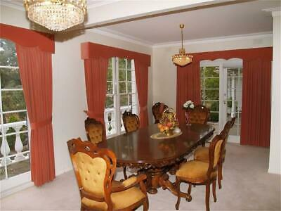 AU5000 • Buy Gold 9 Piece Timber & Velvet Baroque Crafted In Italy Extendable Dining Suite