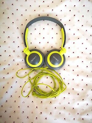 AU8.94 • Buy Headphones - Sony MDR-XB200 - Grey / Green - EXTRA BASS BOOSTED
