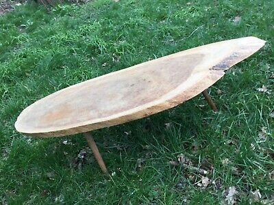 """£125 • Buy QUIRKY 1960's COFFEE TABLE, THE TOP IS A """"SLICE"""" OF TREE TRUNK"""
