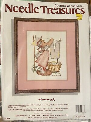 £21.25 • Buy New Needle Treasures Wash Day Hummel Counted Cross Stitch Kit #02633 8x10 Vintag