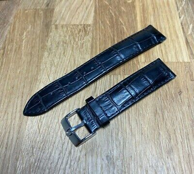 Leather 19mm Black Watch Strap & 18mm Omega Shape Stainless Buckle - VGC • 36.99£