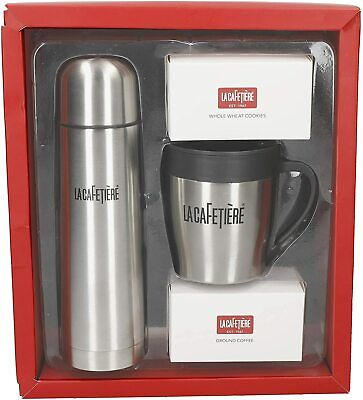 La Cafetière Coffee Gift Set Thermal Flask Travel Mug Stainless Steel 480ml 300m • 29.94£