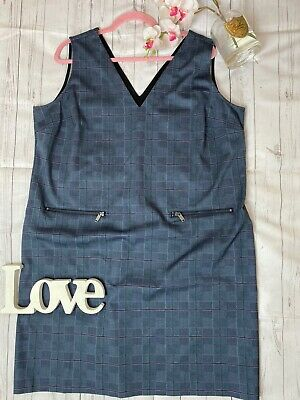 Next Size 20 Navy Long Checked Shift Dress Smart Work Office Business Career NEW • 19.20£