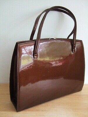 £21 • Buy Vtg 40s Classic Frame Clasp Top Handle Brown Patent Leather Granny Kelly Handbag