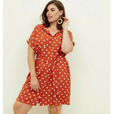 AU10 • Buy Asos Curve New Look Plus Size 22 Polka Dot Dress Vintage Look Orange Rust