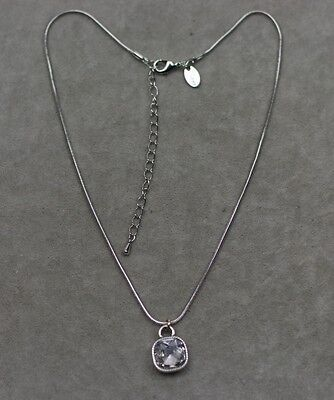 $ CDN8.48 • Buy Lia Sophia Signed Jewelry Silver Tone Cute Square Cut Crystal Pendant Necklace