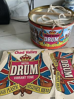 £18 • Buy Vintage Chad Valley Metal Toy Drum With Box
