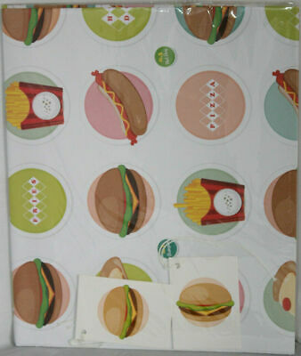 £3.79 • Buy Fast Food Burgers Fries Gift Wrap Wrapping Paper 2 Sheets 50cm X 70cm 2 Tags