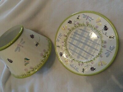 Yankee Candle Lg Topper Set Shade & Plate Green Trim Ladybug Bee Butterfly • 15.85£