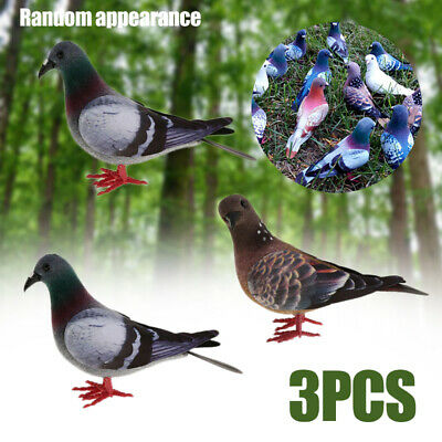 £6.99 • Buy 3x Pigeon Artificial Doves Simulation Ornament Garden Decor Feathered Bird UK