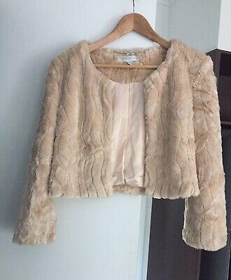 AU35 • Buy Forever New Faux Fur Cropped Jacket Size 10