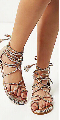 River Island Ladies Gold Sandals Size 6 Gladiator Style  • 4£