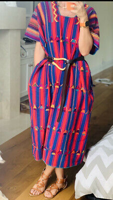 AU354.79 • Buy Blue Red Striped Pippa Style Mexican Huipil Kaftan Dress Oaxaca
