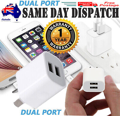 AU19.94 • Buy 2 Port USB Phone Charger Travel 5V 2A Dual USB Wall Charging AC Adapter AU Plug