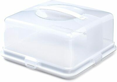 Whitefurze 30cm Square Cake Box Store Carrier With Secure Clips & Handle - White • 9.49£