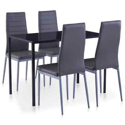 AU246.99 • Buy VidaXL 5 Pieces Dining Set Grey 4 Chairs And Tempered Glass Kitchen Table