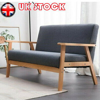 £89.49 • Buy Modern 2 Seater Sofa Bed Armchair Upholstered Fabric Linen Seat Wooden Frame