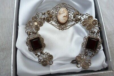 Antique Victorian  Beautiful Filigree Open Wire Shell Carved Cameo Bracelet  • 26£