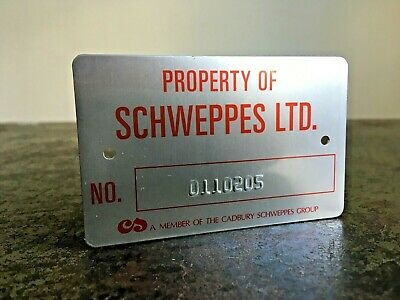 £9.99 • Buy Vintage Small Metal Embossed CADBURY SCHWEPPES GROUP No. 0110205 Plate Sign
