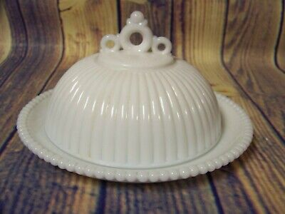 $24.99 • Buy Vintage White Milk Glass Ribbed/Beaded Covered Butter/Cheese Dish