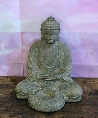 Buddha Stone Candle Garden 20cm Ornament Outdoor Indoor Statue Thai Hindu • 18£