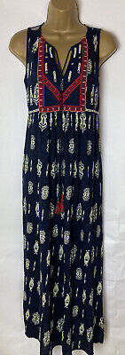 AU39.36 • Buy Beautiful Monsoon Maxi Dress Size 14 Summer Navy Hippy Boho Long Beach Ladies