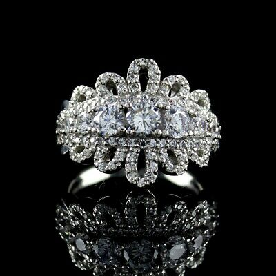 $ CDN60.21 • Buy QVC Diamonique Enlightened Sterling 1.35 Ct Tw Royal Lace Ring Size 9