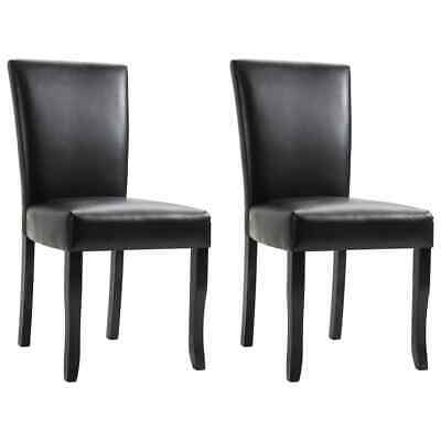 AU208.99 • Buy VidaXL 2x Dining Chairs Black Faux Leather Kitchen Dinner Restaurant Seating