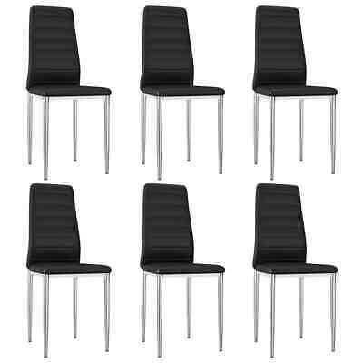 AU266.99 • Buy VidaXL 6x Dining Chairs Black Faux Leather Office Kitchen Dinner Side Seat