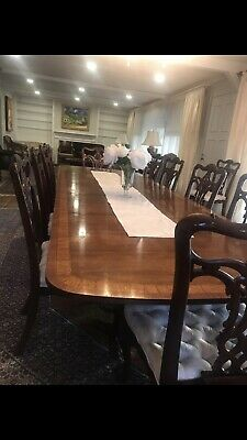 $1200 • Buy Set Of 10 Maitland-Smith Square Chippendale Style Solid Mahogany Dining Chairs