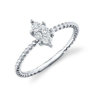 AU945.61 • Buy 14K White Gold Round Cut Diamond Marquise Shape Ring Solitaire Beaded Shank 7
