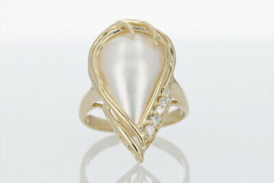 $359.85 • Buy 7.32ctw Mabe Pearl And Diamond Statement Ring 14k Yellow Gold Size 6.5