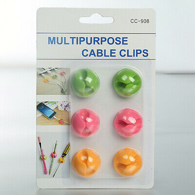 Cable Clips Desk Cable Drop Desk Wire Clips Electrical Charging Or Mouse Cord HL • 2.69£