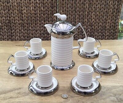 RARE COSMIC DESIGN WORKS COFFEE SET, CAFETIERE With 6x MUGS & SAUCERS • 200£
