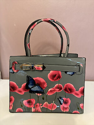 £5 • Buy Grey Bag With Flower And Butterfly Print