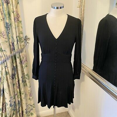 AU39.20 • Buy Whistles Size 12 Black Fit Flare Vintage Look Button Front Long Sleeve Dress VGC