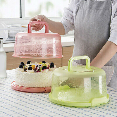 Round Cake Carrier Box Container Transporter With Clear Lockable Lid Handle • 7.15£