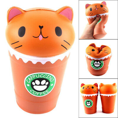 AU8.93 • Buy Jumbo Coffee Cup Cat Scented Press Slow Rising Flexible Toy Stress Release Gift