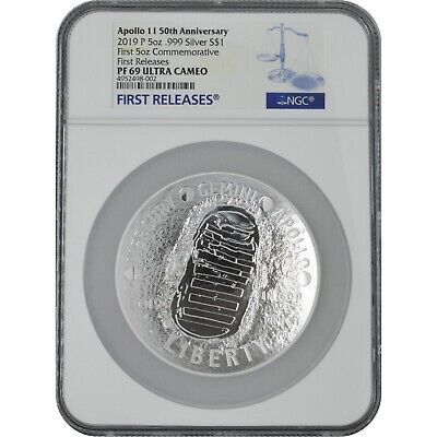 AU255.36 • Buy 2019 Apollo 50th Anniv 5 Oz Proof Silver Coin NGC PF69 First Releases