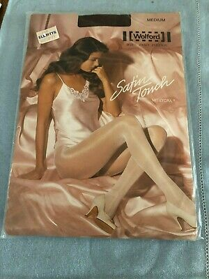 WOLFORD SATIN TOUCH 20 Den TIGHTS Size M Medium COCA Dark Brown With Satin Sheen • 3.50£