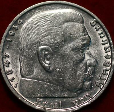 AU8.26 • Buy Uncirculated 1935-J Germany 5 Reichsmark Silver Foreign Coin