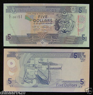 AU6.29 • Buy Solomon Islands Banknote 5 Dollars 2008 UNC