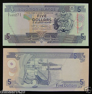 AU6.29 • Buy Solomon Islands Banknote 5 Dollars 2011 UNC