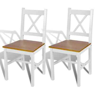 AU122.99 • Buy VidaXL 2x Dining Chairs Wood White And Natural Colour Cafe Room Seat Kitchen