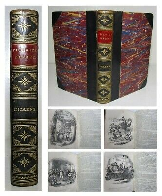 £25 • Buy 1880 CHARLES DICKENS The Pickwick Papers FINE OLD LEATHER BINDING Illustrated